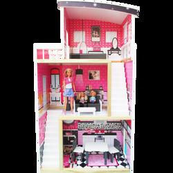 Maison de poupée 3 niveaux ALOYA en bois-volume et accessoires adaptéspour poupées mannequins 33cm