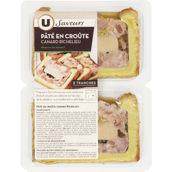 Pâtés en croûte canard Richelieu U SAVEURS, 2 tranches soit 200g
