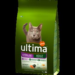 Croquettes pour chats stérilisés au saumon ULTIMA, 3kg
