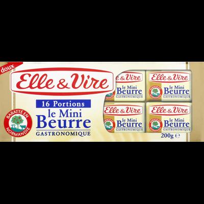 Mini beurre doux  82% de matière grasse ELLE & VIRE, 16x12.5g