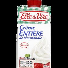 Crème fluide de Normandie UHT entière ELLE&VIRE,  30% de MG, brique de25cl