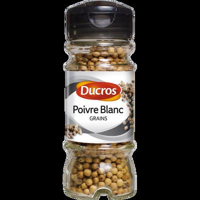 Poivre blanc en grains, DUCROS, flacon duc de 48g