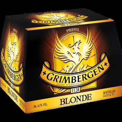 Bière blonde, GRIMBERGEN, pack de 12 bouteilles de 25cl