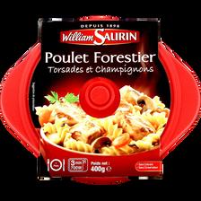 Cocottes poulet forestier torsades et champignons WILLIAM SAURIN, barquette micro-ondable, 400g