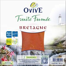 Truite fumée de Bretagne OVIVE, 2 tranches, 60g