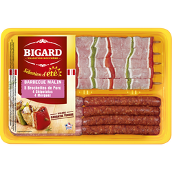 Barbecue malin côtes de porc, 4 côtes de porc, 4 chipolatas, 4 merguez, BIGARD, 915g