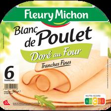 Fleury Michon Blanc De Poulet Doré Au Four , 6 Tranches Fines Soit 180g