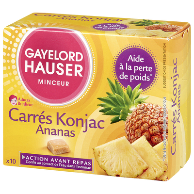 Carrés coupe faim ananas GAYELORD HAUSER, 10 unités, 100g