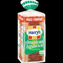 Pain de mie american sandwich 7 céréales HARRYS, 825g