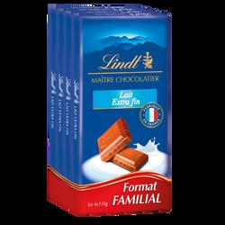 Chocolat au lait extra-fin recette originale LINDT 4x110g
