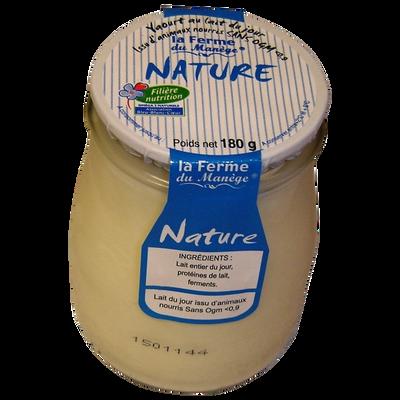 Yaourt entier brassé au lait du jour nature LA FERME DU MANEGE, pot enverre de 180g