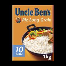 Riz long grain vrac cuisson rapide 10 minutes UNCLE BEN'S, étui de 1kg