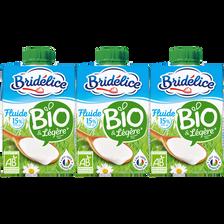 Crème UHT fluide légère bio 15%mg BRIDELICE brique 3x20cl