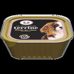 Terrines pour chien riche en veau U, barquette de 300g