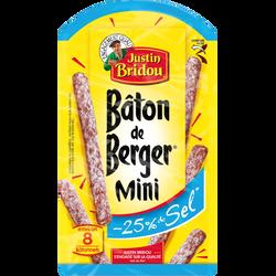 Mini bâton de berger taux sel réduit snack JUSTIN BRIDOU, 80g