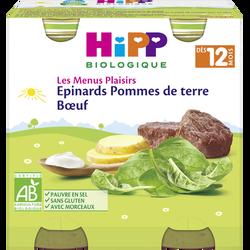Petit pot BIO pour bébé pommes de terre épinard boeuf HIPP, dès 12 mois, 2x250g
