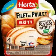 Herta Filet De Poulet Rôti Conservation Sans Nitrite Herta, 4 Tranches Soit120g