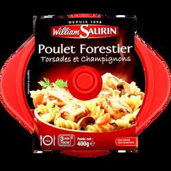 Cocottes poulet forestier torsades et champignons WILLIAM SAURIN, barquette micro-ondable de 400g