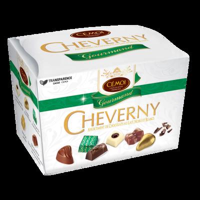 Assortiment gourmand Cheverny chocolat lait, noir et blanc CEMOI, ballotin de 210g