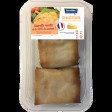 Croustillant saumon/fromage, transformé en France, barquette de 200g