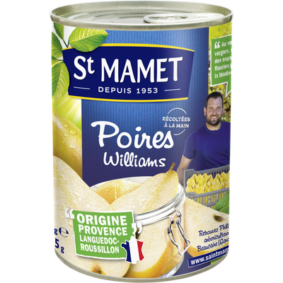 Poires william's au sirop SAINT MAMET, boîte 1/2 de 235g