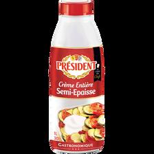 Crème UHT entière semi-épaisse 30%MG, PRESIDENT, bouteille 1l.