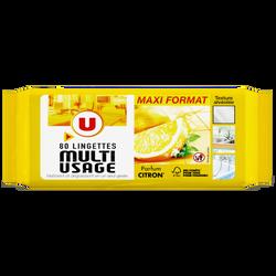 Lingettes multi-usages parfum citron U, x80