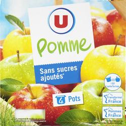 Purée de fruits aux pommes sans sucres ajoutés U, 4x100g
