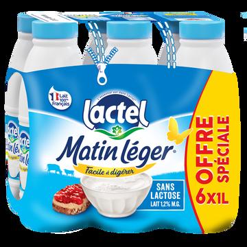 Lactel Lait Uht Teneur Réduite En Lactose Matin Léger Lactel, 1,2% De Mg, 6 Bout Eilles De 1l