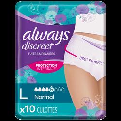 Sous-vêtements pour incontinence normal ALWAYS, taille L, x10