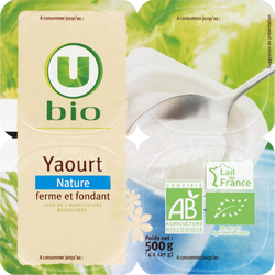 Yaourt nature U BIO, pack de 500g