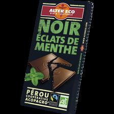 Chocolat noir bio à la menthe ALTER ECO, tablette de 100g