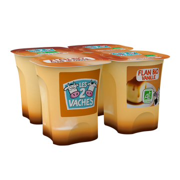 Les 2 vaches Flan Bio Vanille Caramel Les 2 Vaches, 4x10 0g