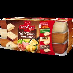 Fromage au lait pasteurisé spécial soirée raclette 3 saveurs nature 3poivres et saveur d'antan ENTREMONT, 28% de matière grasse, 660g