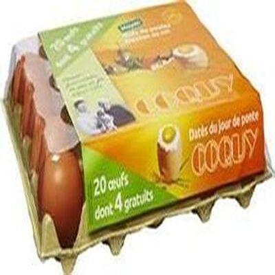 Boîte de 20 ?ufs de poules élevées au sol dont 4 gratuits