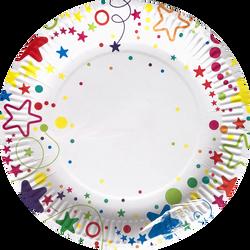 Assiettes joyeux anniversaire MELI MELO, 23cm, 6 unités