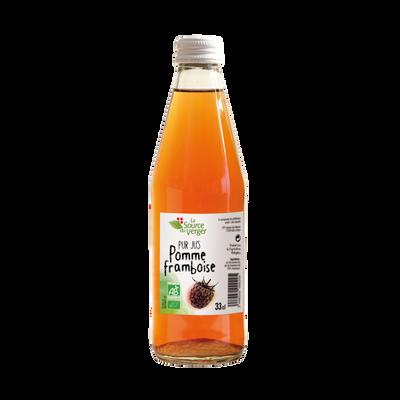 Jus de pomme framboise bio LA SOURCE DU VERGER, bouteille 33cl