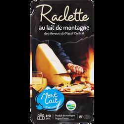 Raclette au lait de montagne pasteurisé, MONTLAIT, 28%mg, tranchette,400g