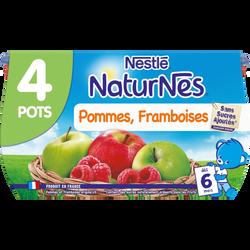Compote pomme framboise NATURNES, dès 6 mois, 4x130g