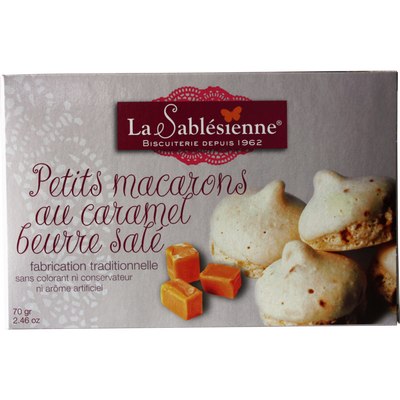 Petit macaron au caramel beurre salé BISCUITERIE LA SABLESIENNE,étui70g