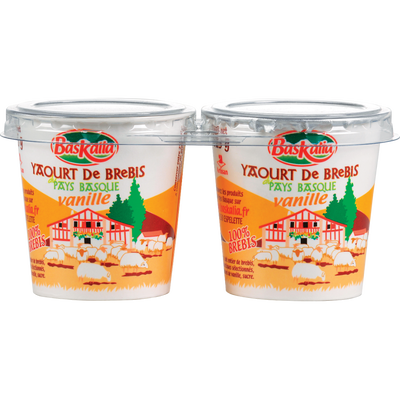 Yaourt pur brebis vanille BASKALIA, 2 pots en carton de 125g