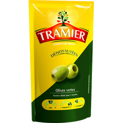 Olives vertes dénoyautées TRAMIER, sachet de 320g