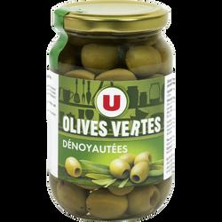 Olives vertes dénoyautées U, bocal de 37cl soit 160g