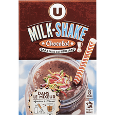 Milk shake chocolat U, 8 sticks, 224g