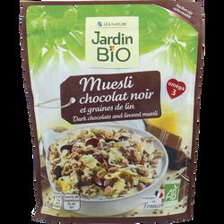 Muesli au chocolat noir et aux graines de lin JARDIN BIO, sachet express de 375g