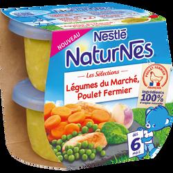 Bols pour bébé légumes du marché et poulet fermier NESTLE naturnes, dés 6 mois, 2x200g