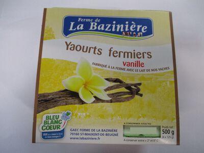 yaourts fermiers vanille, BLEU BLANC COEUR, au lait entier de vache, La Bazinière, pot 4x125g