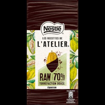 Chocolat noir raw 70% les recettes de l'atelier NESTLE, tablette de 95g