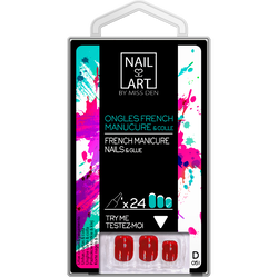 Ongles french manucure court rose avec colle, x24 MISS DEN