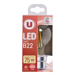 Led U, ronde, 75w, b22, transparent, lumière chaude